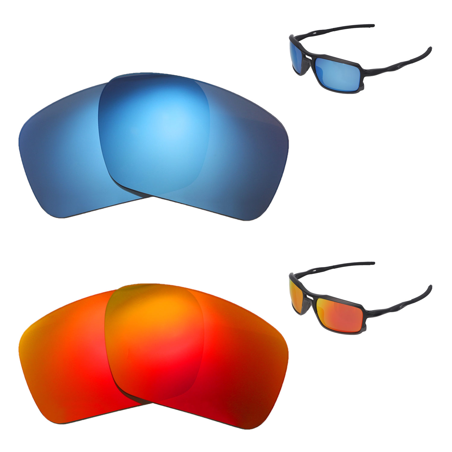d9f054eb63 Details about Walleva Fire Red + Ice Blue Polarized Replacement Lenses For  Oakley Triggerman