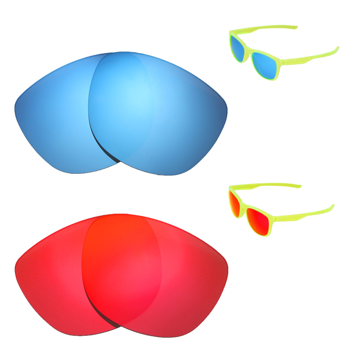 ef7a329e64 Details about Walleva Fire Red + Ice Blue Polarized Replacement Lenses For  Oakley Trillbe X