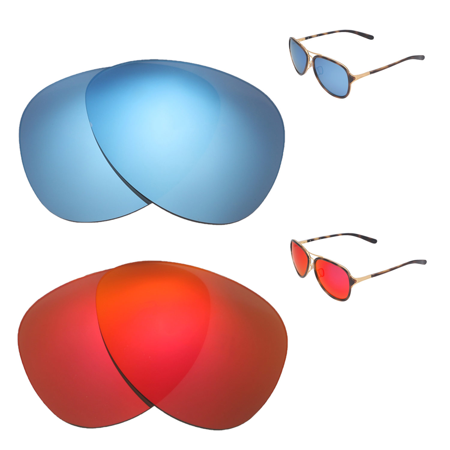 4b996f77c4 Details about Walleva Fire Red + Ice Blue Polarized Replacement Lenses For  Oakley Kickback