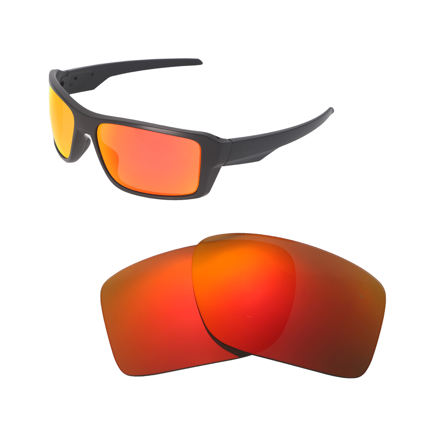 24ad456375 Details about Walleva Fire Red Polarized Replacement Lenses For Oakley  Double Edge Sunglasses