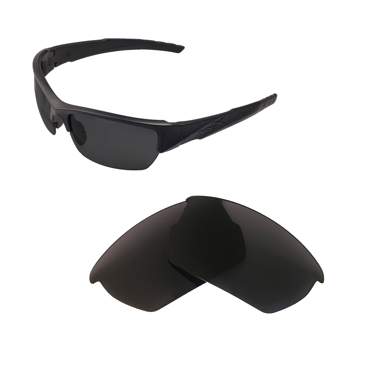 972c0d300d Details about Walleva Non-Polarized Black Replacement Lenses For Wiley X  Valor Sunglasses