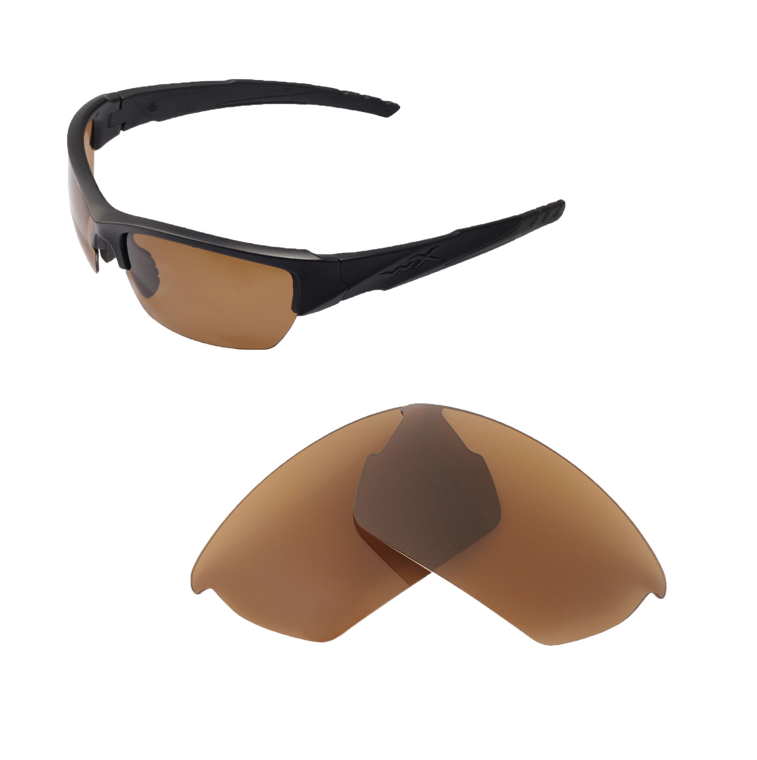 03e43dcf9b Details about Walleva Polarized Brown Replacement Lenses For Wiley X Valor
