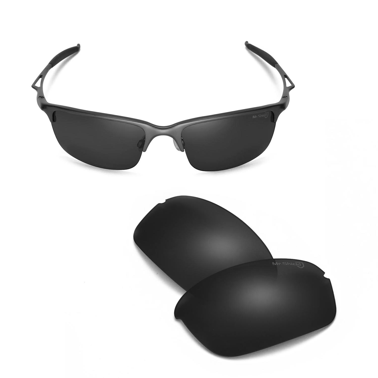 Walleva Mr.Shield Polarized Black Lenses for Oakley Half Wire 2.0 ...