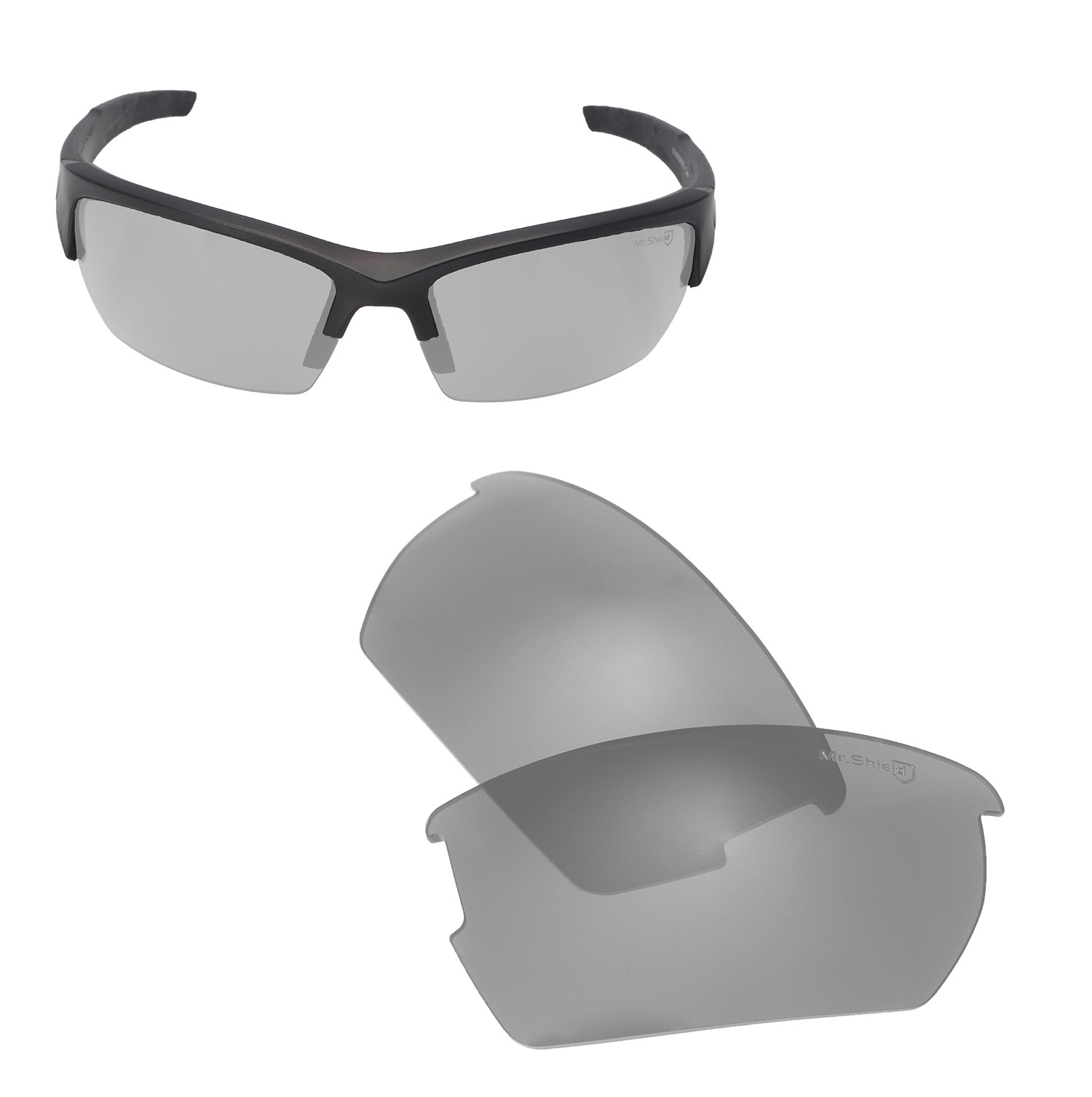 e14560f3c6a Walleva Mr. Shield Polarized Titanium Lenses for Wiley X Valor x1  Walleva  Microfiber Lens Cleaning Liquid x1. main image
