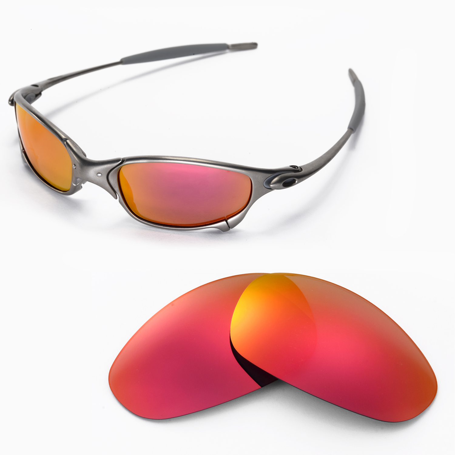 2ab0f23772 Details about New Walleva Polarized Fire Red Replacement Lenses For Oakley  Juliet Sunglasses