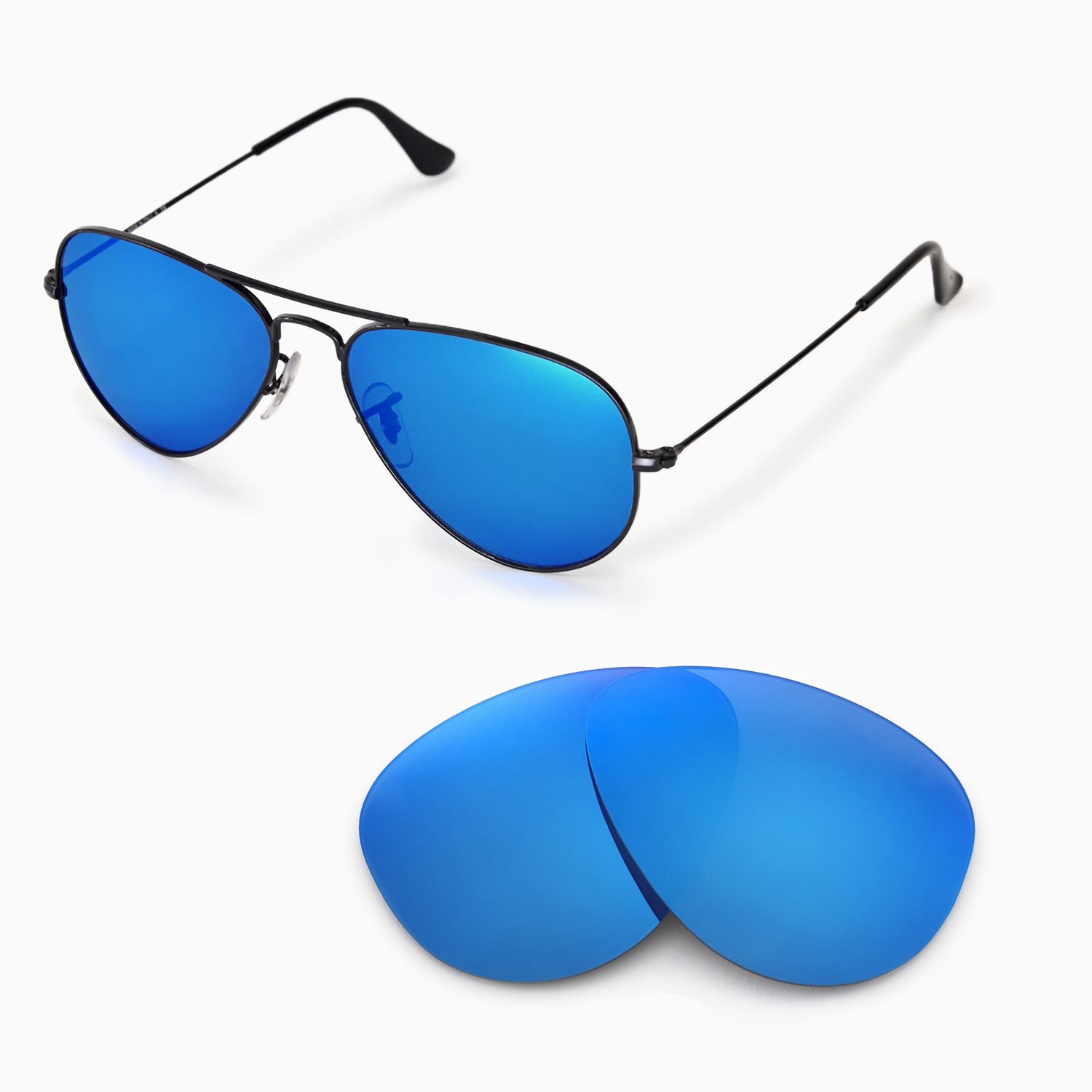 3c65a5a236f Details about Walleva Polarized Ice Blue Lenses 4 Ray-Ban Aviator Large  Metal RB3025 55mm