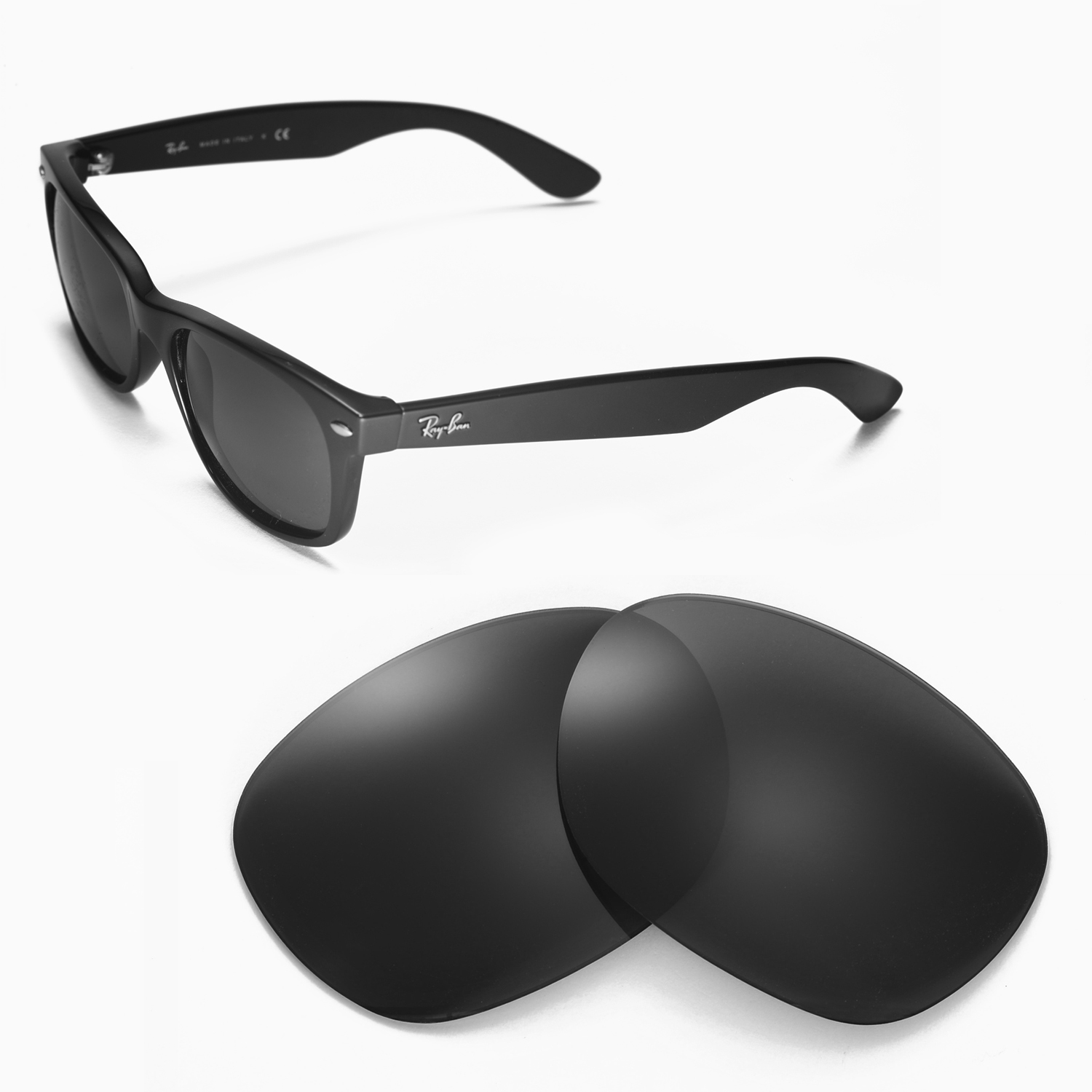 9474212fe6 Details about WL Polarized Black Replacement Lenses For Ray-Ban Wayfarer  2132 55mm